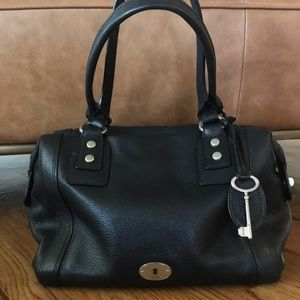 Fossil Large Pebbled Leather Tote Black Bag Purse